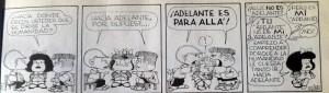 Mafalda preocupada por el destino de la Humanidad